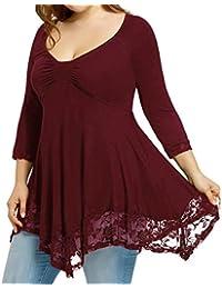 FAMILIZO Camisetas Mujer Tallas Grandes Camisetas Mujer Verano Tops Mujer Primavera Camisetas Mujer Largas Camisetas Mujer Manga Larga Algodon Tallas Grandes Mujer Fiesta Blusas