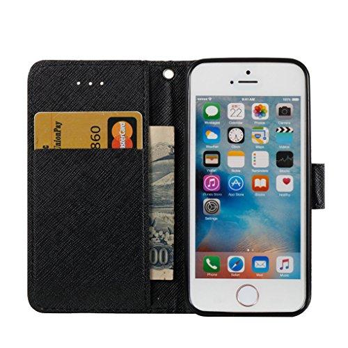 Apple iPhone SE 5 5S Hülle, SATURCASE Schönes 3D Muster PU Lederhülle Ledertasche Magnetverschluss Flip Cover Brieftasche Case Handy Tasche Schutzhülle Handyhülle Hülle mit Standfunktion Kartenfächer  Muster-5