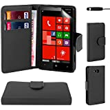 32nd® Book Style Faux Leather Wallet Case for Nokia Lumia 820, Bundle Includes Cover, Film Screen Protector and Touch Screen Stylus Pen - Black