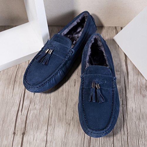 Herren Winterstiefel Warm Gefütterte Klassische Mokassin Lederschuhe Bootsschuhe Flache Slippers Wildleder Loafers Fahren Halbschuhe Blau