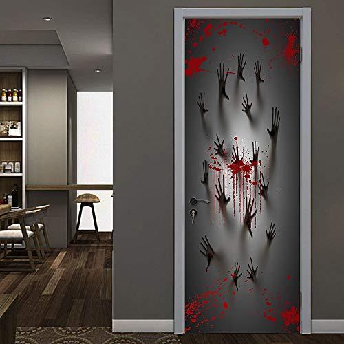 JXAA Halloween Haunted House Dekoration Türabdeckung Fenster Zombie Hände 78X30 Zoll Einzigartige wasserdichte Wandaufkleber Treibsand SA70