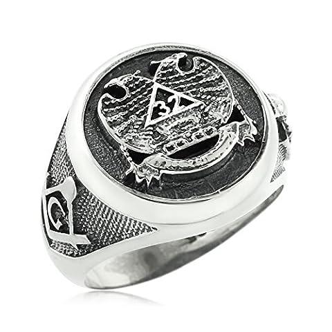 Kleine Schätze - Vintage Oxidized Sterling Silber Scottish Rite Freimaurer Ring