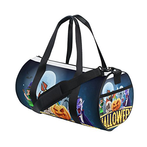 COOSUN Halloween Charaters Duffle Tasche Schulter Handy-Sport Gym-Taschen für Männer und Frauen Mittel Mehrfarben
