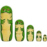 Set Of 5pcs New Beautiful Wooden Frog Family Russian Nesting Dolls New Year Gift Handmade Hand-painted Toys By Fine Craft India