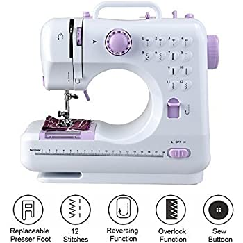 Qualimate Mini Desktop Multi functional Electric Sewing Machine Household Double Stitches Sewing Tools