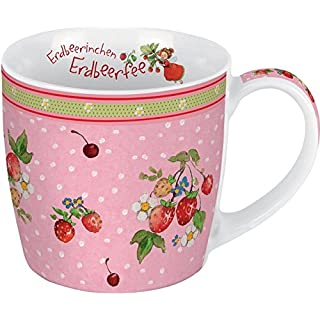 Porzellantasse Erdbeerinchen. Motiv Erdbeerbusch: Erdbeerinchen Erdbeerfee. Edle Porzellantasse, farbig bedruckt, in hochwertiger Geschenkbox: