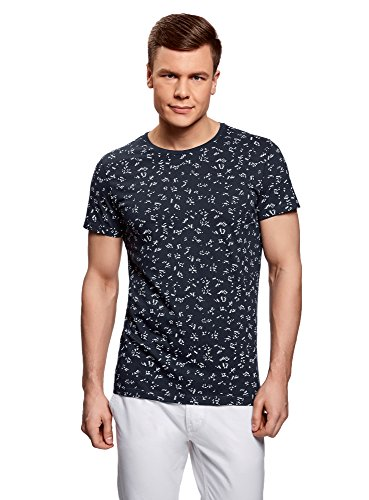 oodji Ultra Herren Bedrucktes Baumwoll-T-Shirt Blau (7910G)