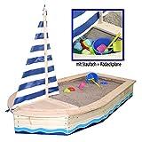 SUN Sandkasten Boot Massivholz Sandkastenboot Segelboot m. Abdeckung by Woodinis-Spielplatz®