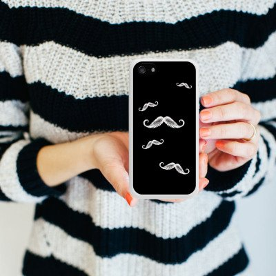 Apple iPhone 4 Housse Étui Silicone Coque Protection Moustache Hipster Moustache Housse en silicone blanc