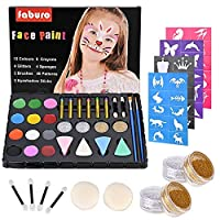 Faburo Face Paint Kit for Kids, Face Paint Palette, Face Painting Set 12 Colour with 24 Stencils, 6 Crayons, 2 Brushes, 4 Glitters Gold and Silver, 4 Sponges, 4 Eyeshadow Sticks, Non-Toxic Washable