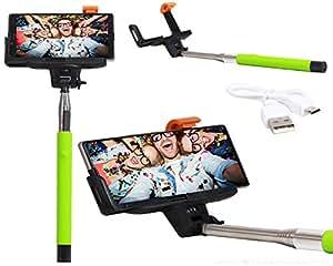 Selfie Stick Extendable Monopod With Inbuilt Bluetooth Remote Wireless Shutter Connectivity Compatible For Oukitel K4000 Pro -Light Green