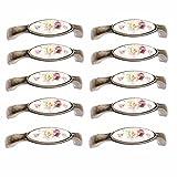 Fbshop (TM) 10PCS in lega di zinco armadietto, cassetto ceramica tira maniglie, cassettiera mobili armadi, armadietti cucina bagno Hardware, alta qualità fiore floreale manopole con viti