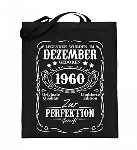 Hochwertiger Jutebeutel (mit langen Henkeln) - Legenden Dezember Geburtstag 1960 Schwarz