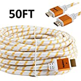 CableVantage 50FT 50 FT HDMI Cable, HDMI Cable HDMI-50FT Gold-Plated High Speed HDMI Cable [ Support 3D   Ethernet   Audio Return] For PS4 Xbox One PC HDTV White Mesh Braided Nylon Cord, Gold Tip
