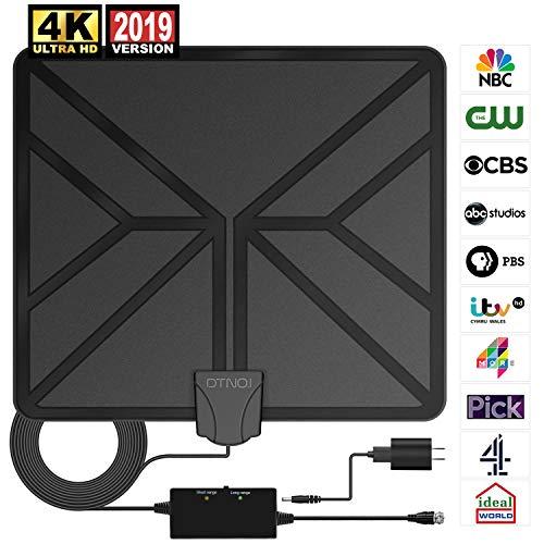 TV Antenne, HDTV-Verstärker Indoor Antenne Digitale, Superflache Zimmerantenne TV DVB-T & DVB-T2 Antennen, Unterstützt 4K/ HD /1080P/ freie Kanäle mit 5M Koaxialkabel unterstützt