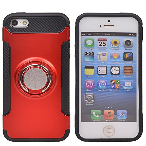 Coque Apple iPhone 5/ 5S/ SE,COOLKE Haute qualité Etui Housse Robuste Protection de Double Couche d'Armure 360 Degrés Rotation Ring Holder Stand Protection case cover pour Apple iPhone 5/ 5S/ SE - Ros Rouge