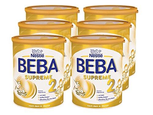 Nestlé BEBA SUPREME 2 Folgemilch: ab dem 6. Monat , trinkfertiges Pulver , mit hydrolisiertem Eiweiß , im Anschluss an das Stillen , 6er Pack (6 x 800g)