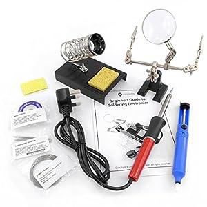 Kit de soldadura (40 W, incluye soporte y desoldador, 9 piezas) Incluye