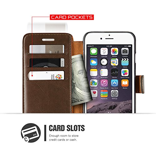 Coque iPhone 6S/6, VRS Design [Layered Dandy][Marron Foncé] - [Fentes pour Cartes Housse Cover][Étui portefeuille à rabat en cuir PU][Protection Case]- pour iPhone 6/6S Marron Foncé