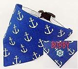 Hundehalstuch als Halsband optional mit Wunsch Namen bestickt Maritim blau Halstuch Tuch