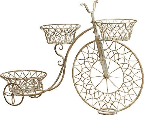 Bicicletta portafiori in ferro battuto finitura bianca anticata l89xpr28xh62 cm