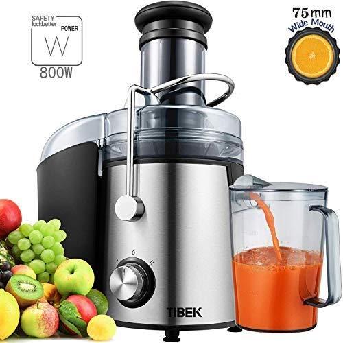 Tibek Licuadora para Verduras y Frutas, 800W Licuadora Exprimidor y Extractor de Zumos Exprimidor Centrífugo...