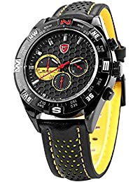 Shark SH081 - Reloj Hombre de Cuarzo, Correa de Cuero Negro