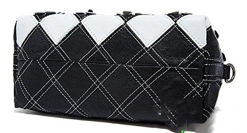 Keshi Cuir Nouveau style - Sac à main femmes - Porté MAIN et EPAULE Black Blanc