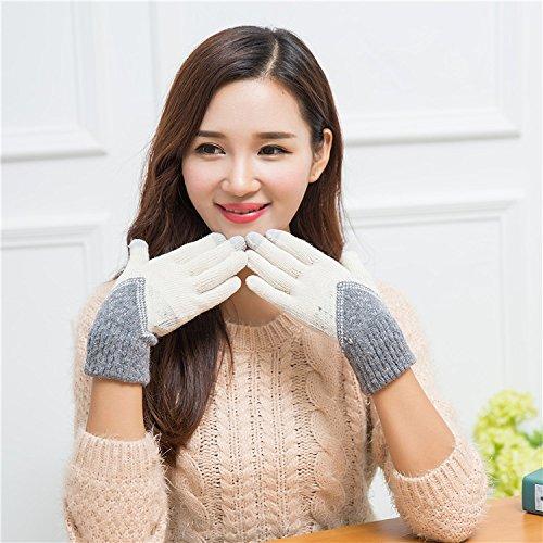 Bzybel Damen Touchscreen Winter Warm Handschuhe Knit Weiche Full Finger Handschuhe Verschiedene Farben, Beige-Grey