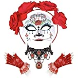 Ladies Sugar Skull Day Of the Dead Set - Maria Mask, Red Lace Gloves, Flower Headband & Red Jewell Necklace
