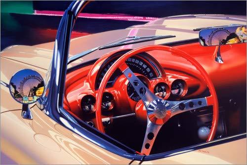 Posterlounge Leinwandbild 100 x 70 cm: 58 Corvette von Graham Reynolds/World Art Group - fertiges Wandbild, Bild auf Keilrahmen, Fertigbild auf echter Leinwand, Leinwanddruck