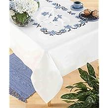 Flor azul Cruz–Mantel (130x 160cm–Kit de punto de cruz