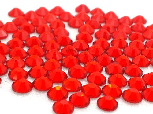 EIMASS® - Set di 100 strass di grado A, retro ricoperto in pellicola d'alluminio, fissaggio a freddo, ideali per personalizzare abiti, borse, scarpe ecc, 25 colori e 7 misure, un'alternativa ai cristalli Swarovski, Light Siam - Bright Red, ss12 (3,2 mm)