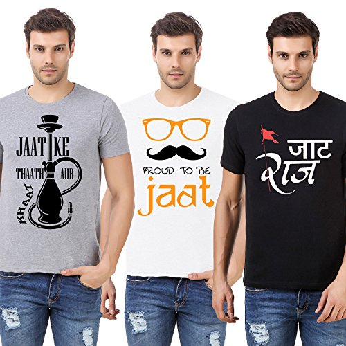 Desi Swag Round Neck JAAT COMBO Half Sleeve Mens Cotton T-Shirt