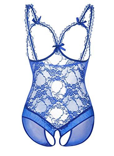 DotVol Damen Open Cup Crotchless One-piece Babydoll Dessous Set Erotik Lingerie Bodysuit Spitzen Unterwäsche Sexy Lingerie(EU 52/Tag XXXL, blau) (Mesh-open-cup-bh)