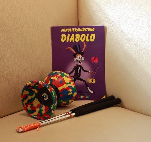 Diabolo Set Harlekin medium vierfarbig mit Alu-Handstäben und Spielanleitung