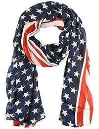 b88afc97bae3 Cdet Écharpe en érable de drapeau américain Ultra-mince Chiffon Soie pour  ...