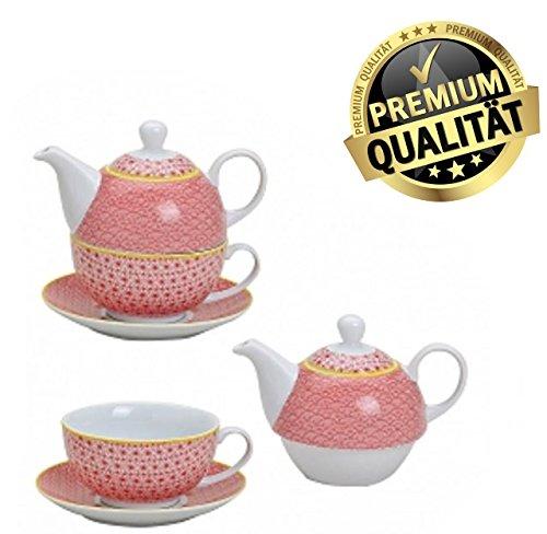 3 teiliges Tee Set Teekanne Tasse Untertasse Porzellan im Landhausstil in Rosa