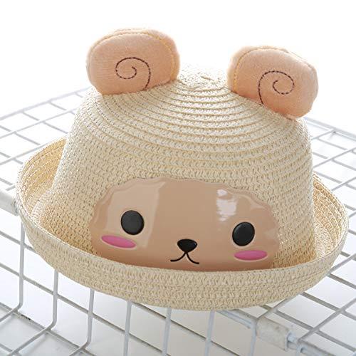 mlpnko Neue Kinder Strohhut Cartoon Tier Hut Baby Männer und Frauen Becken Kappe Hirse Schaf beige S (Schwarzes Schaf Kostüm Hut)