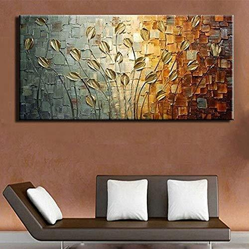 RTCKF Arte Astratta 3D Rosso Albero Dipinto casa Parete Arte Immagine Disegnata a Mano Tela Pittura a Olio in Soggiorno (Senza Cornice) A2 30x60 cm
