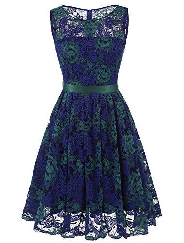 Wedtrend Damen Elegant Spitzenkleid Cocktailkleider Brautjungfernkleid Partykleid WT10103Green-BlueXXL (Prom Zurück Kleid)