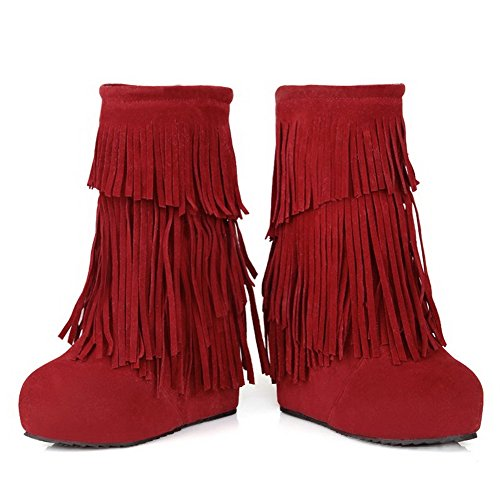 AgooLar Damen Mattglasbirne Mitte-Spitze Fransig Ziehen Auf Hoher Absatz Stiefel Rot