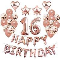 Weimi 16th Birthday Decoration for Girls 39 PCS Balloons Set 16th Balloons for Girls Confetti Balloons
