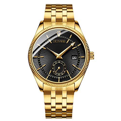 Luxuriöse Herren-Quarz-Armbanduhr, Sportuhr, wasserdicht, Vollstahl, Gold-Schwarz