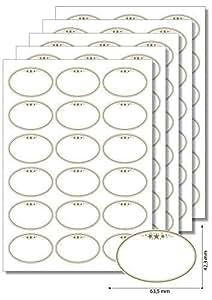90 Étiquettes ovales étoiles doré, cadre pour l'impression d'étiquettes autocollantes dIN a4 marmeladenetiketten haushaltsetiketten gewürzetiketten