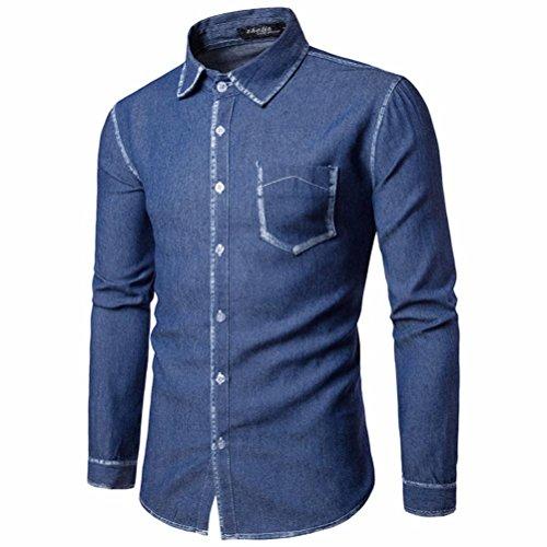VENMO Herren Lässiges Langarmhemd Business Slim Fit Bluse Oben Herren Einfarbig Hemden Freizeit Langarmshirts Cowboy Blusen Langärmeliges Hemd Hemd Shirt Sweatshirt Oberteil Tops (Sexy Deep Blue, XL) -