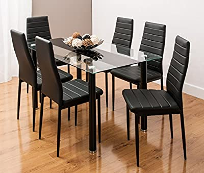 Striped Glass Dining Table Set with 6 Faux Leather Chairs Black/White By SMARTDESIGNFURNISHINGS® produced by SMARTDESIGNFUNISHINGS - quick delivery from UK.