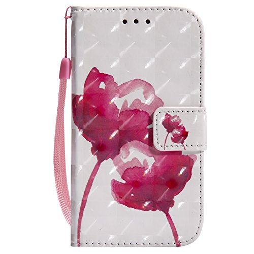 EUWLY Etui en Cuir Housse de Protection pour Samsung Galaxy S4 Ultra-Mince Slim-fit Anti Choc Coque avec Motif et Porte-Cartes,Rose Rouge