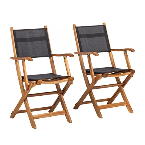 OUTLIV. Klappstuhl Garten Holz Toulouse 2-er Set Klappsessel Akazie/Textilene Schwarz Gartensessel klappbar Campingstuhl Campingsessel (Klappstuhl 2-er Set)