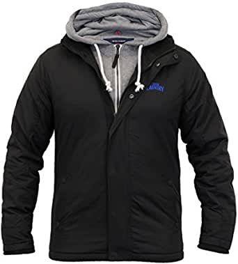 Tokyo Laundry Mens Jacket Coat Quilted Padded Hooded Double Layer Sweat Winter